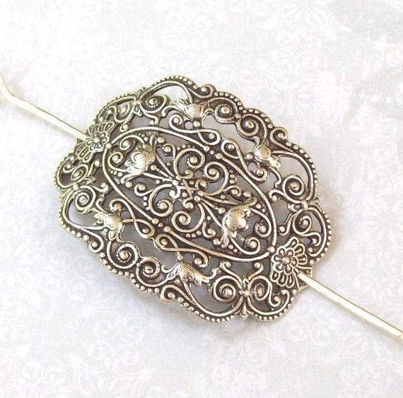 Silver Victorian Shawl Pin, Victorian Filigree Scarf Pin, Silver Hair Slide, oxidized, fashion, silver shawl pin, ornament, stamping