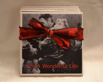 It's A Wonderful Life Wine Coaster Set