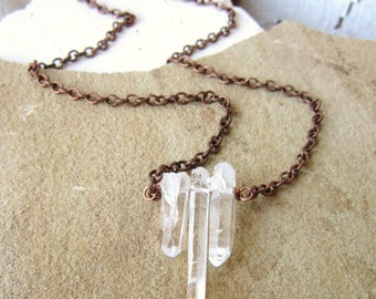 Clear Quartz Crystal Necklace. Rough Point Crystal Necklace. Clear Crystal Jewelry. Rough Cut Quartz Crystal Jewelry