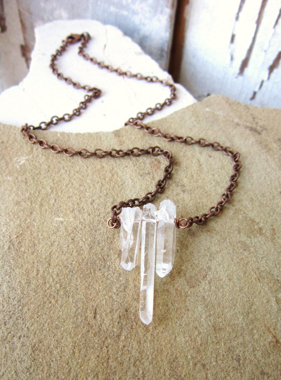 clear quartz crystal necklace rough point crystal necklace. Black Bedroom Furniture Sets. Home Design Ideas