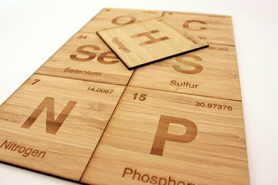 Periodic Table Non-Metals Coasters, Set of 7 in Bamboo