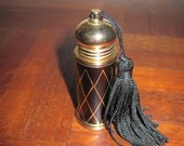Tiny Little Black and Gold Enamel Perfume Bottle with Black Tassel Perfect Stocking Stuffer Miniature