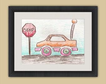 Orange Remote Control Car with Stop Sign - Crayon Drawing - 8x10 - Crayon Art Print - Kid's Room Art - Baby's Room Art