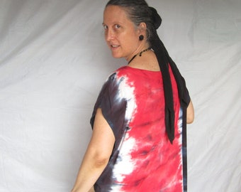 Long Tiedyed Dress, Red and Black, Size XL