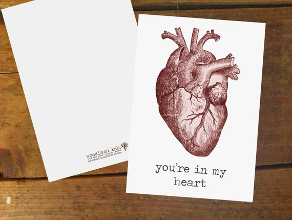 You're In My Heart, Vintage Anatomy, white A6 card with matching envelope