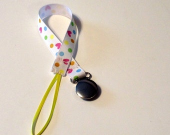 Pacifier Clip Pacifier Holder Hearts Dots Ribbon