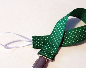 Pacifier Clip Pacifier Holder Swiss Green  Ribbon