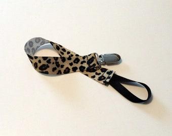 PacifierClip Pacifier  Holder Cheetah Ribbon