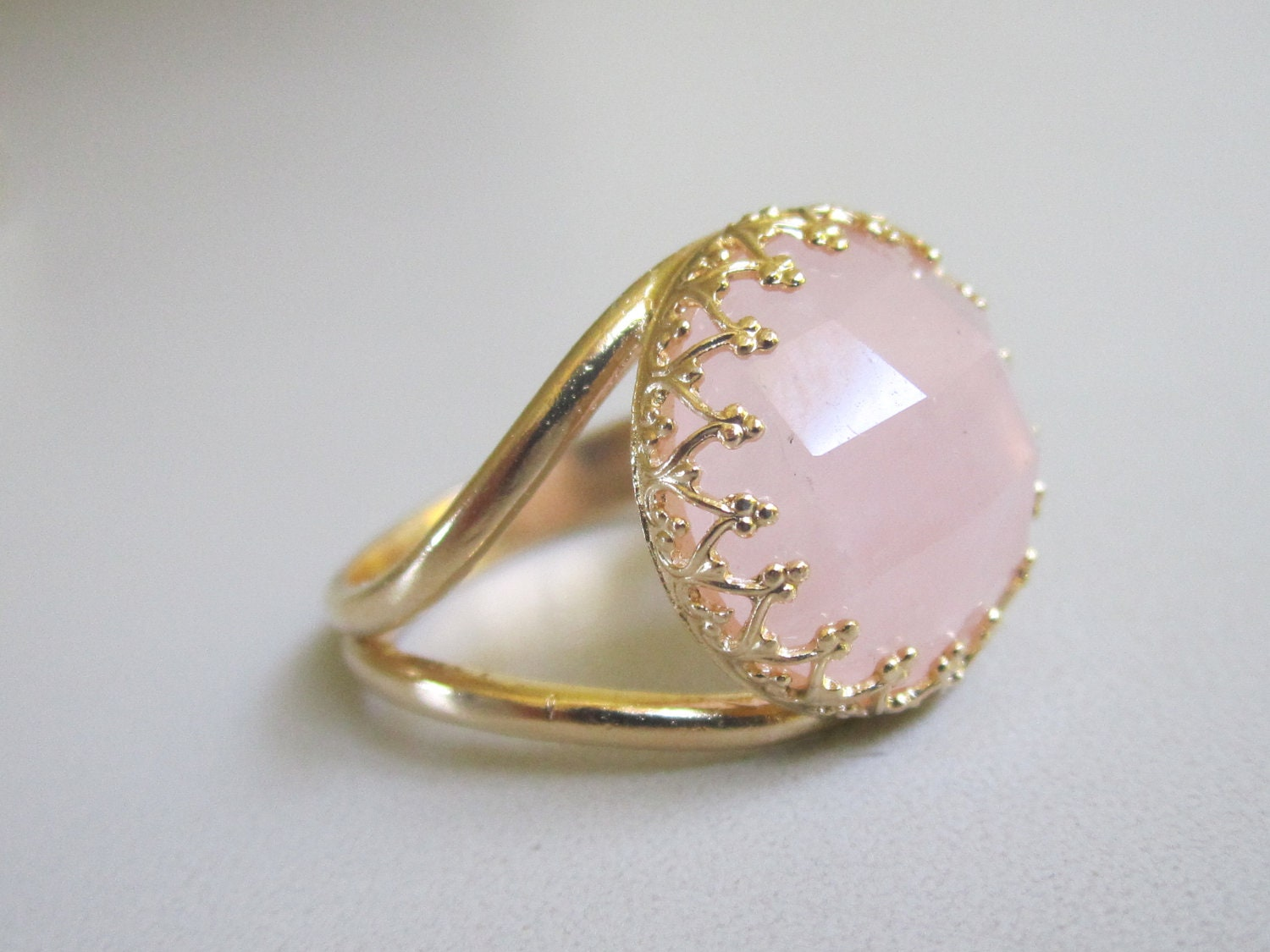 Rose Quartz Ring Sterling Silver Band