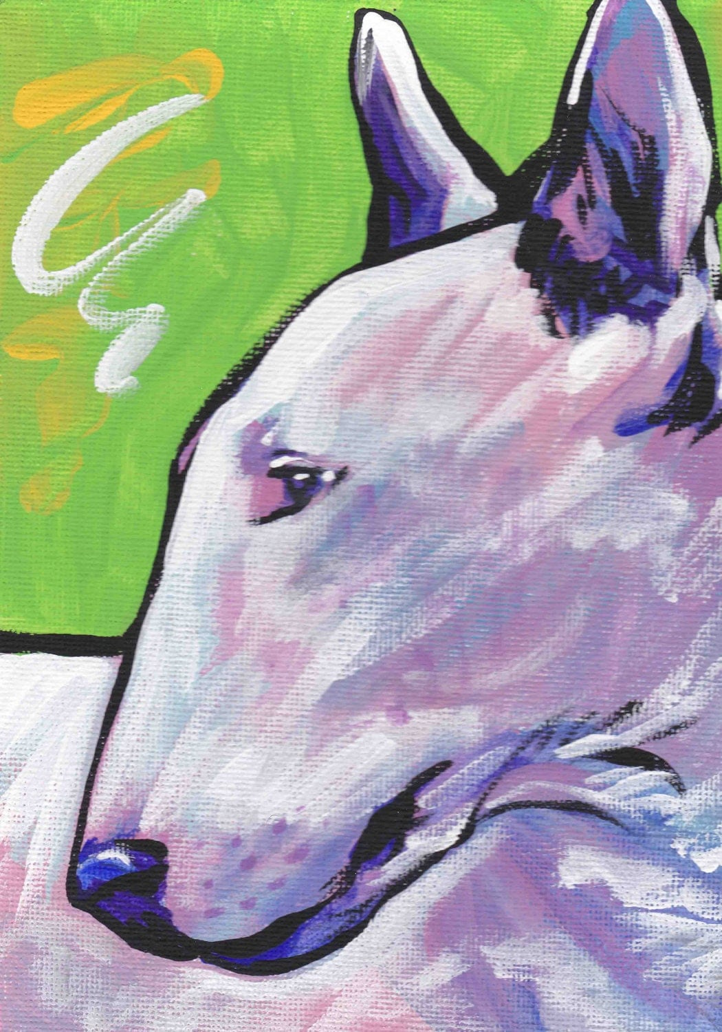 Bull Terrier Art Print Dog Pop Art Bright Colors X - Bull terrier art