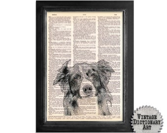The Border Collie - Dog Art Printed on Vintage Dictionary Paper - 8x10.5