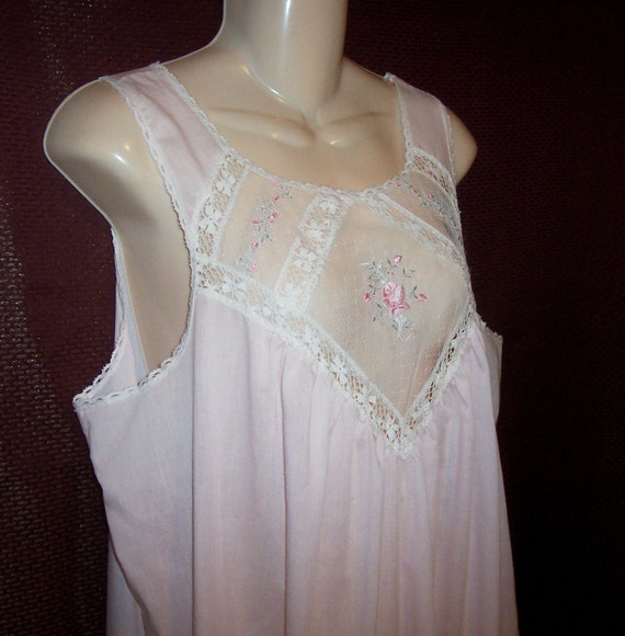Vintage Deena Nightgown - size Large - Nightie - Tea Length - pink - polyester cotton blend - made in USA