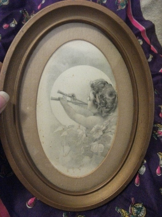 Antique Matted and Framed Old Art Postcard in Metal Oval Frame Pan Playing the Flute Victorian Neoclassical Only 8 USD