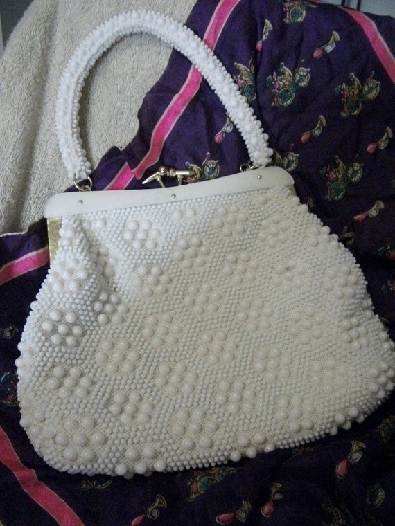 Vintage 1960s White Beaded Handbag Purse Brass Closure Shabby Chic Mad Men Only 4 USD