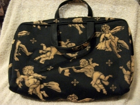 Vintage Ladies Makeup Case or Pouch Black with Gold Cherub Angels Only 5 USD