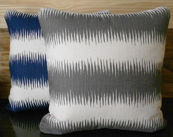 Gray ikat striped throw pillow