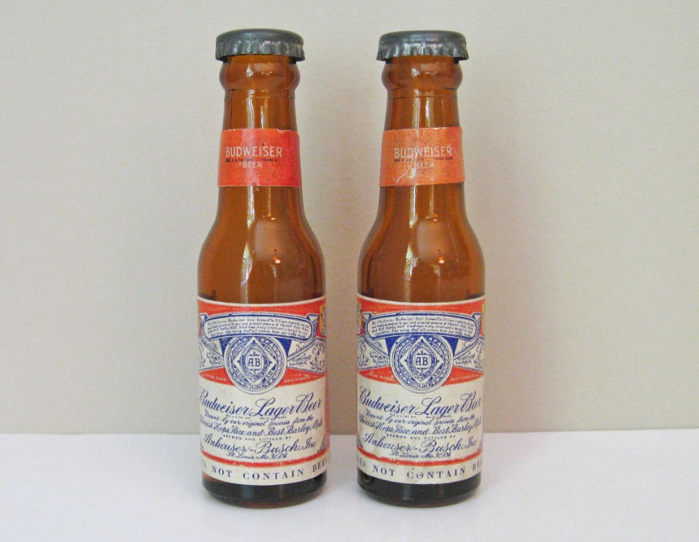 Vintage Budweiser Beer Bottle Salt and Pepper Shakers Retro