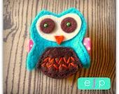 Owl Felt Hair Clip- Baby Hair Clip- Baby Girl Hair Clip with Gripper Toddler Hair Clip Turquoise