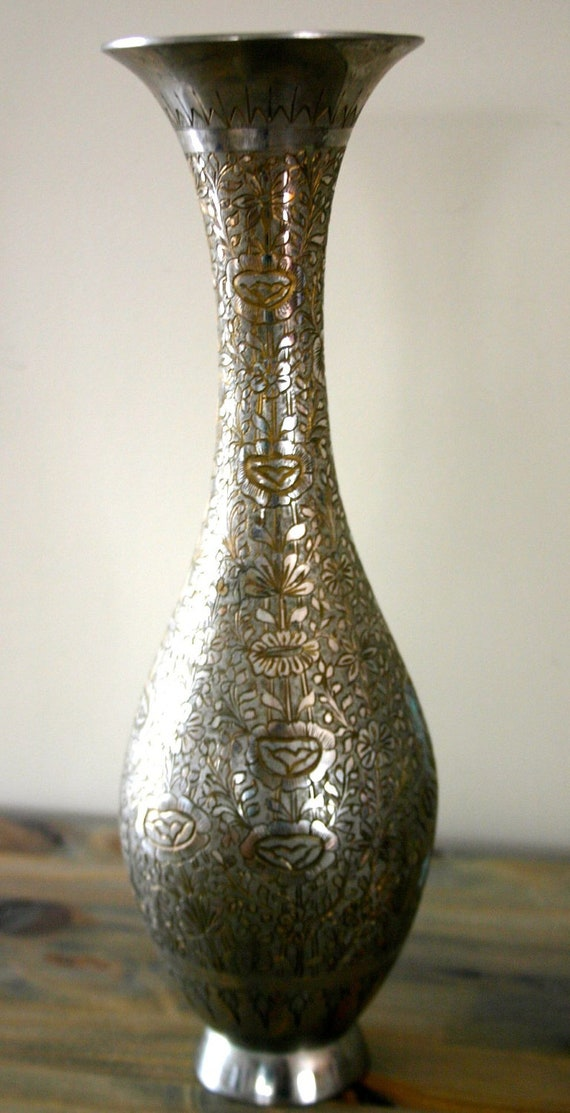 Vintage Indian Hand Etched Silver Vase