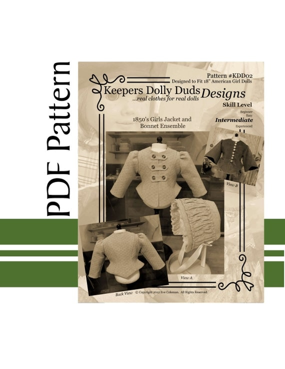 """PDF PATTERN for 1850s Girl's Jacket and Bonnet. An Original KeepersDollyDuds Design Fits 18"""" American Girl Doll"""