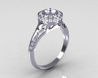 Modern Antique 18K White Gold White Sapphire Diamond Wedding Ring, Engagement Ring R191-18KWGDWS