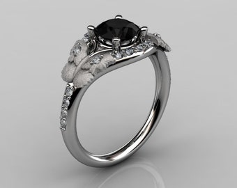 Nature Inspired 10K White Gold 1.0 CT Black Diamond Butterfly and Vine Engagement Ring, Wedding Ring NN117S-10KWGDCHD