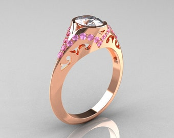 Classic 18K Rose Gold Oval White and Ligh Pink Sapphire Wedding Ring, Engagement Ring R194-18KRGLPSNWS