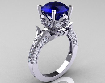 Classic French 14K White Gold 3.0 Carat Blue Sapphire Diamond Solitaire Wedding Ring R401-14KWGDBS