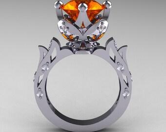 Modern Antique 10K White Gold 3.0 Carat Orange Sapphire Diamond Solitaire Wedding Ring R214-10KWGDOS