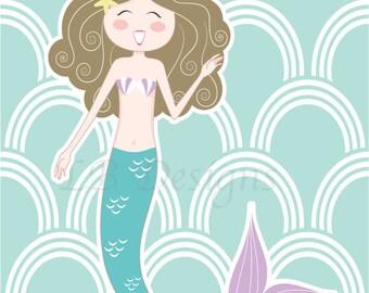 Purple and Aqua Mermaid Nursery Print, Mermaid Bedroom Decor, Mermaid Decor - 8x10