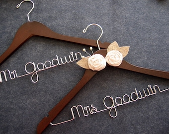 RUSH ORDER Bride and Groom Hanger SET - Rustic Personalized Wedding Hanger - Burlap Hanger - Shower Gift - Engagement Gift - Mr Mrs Hangers