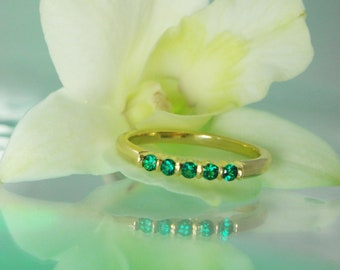 Stackable Emerald Ring, Gold Emerald Ring, Lab Created Emerald, Conflict Free, Earth Friendly Jewelry, 14k Gold Ring