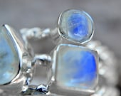 ON SALE Stacked Rainbow Moonstone Sterling Silver Ring Size 8