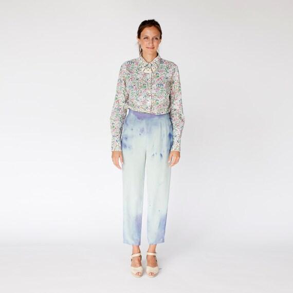 Hand dyed Silk Nebula trousers small