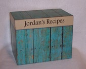 Turquoise Recipe Box, Personalized Wooden Recipe Box - Decoupaged -  Wood Fence  -Shower Gift