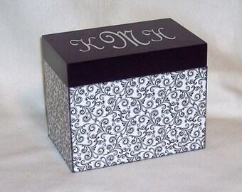 Recipe Box -  Black and White Swirls Personalized Wooden  Recipe Box - Keepsake Box -Trinket Box