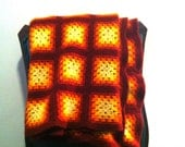 Vintage throw blanket- 70s Afghan -Blanket- Fall Colors- Granny Square Warm Autum Colors - Yellow.Brown.Orange