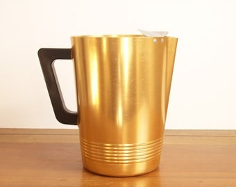 Gold Toned Aluminum Pitcher, Vintage, Mid Century