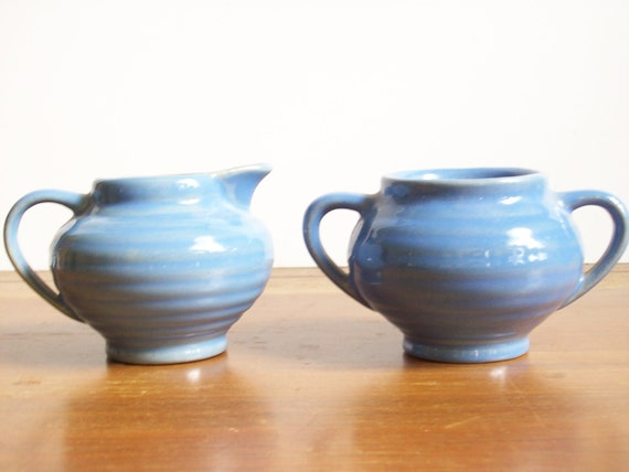 Ringware Sugar and Creamer, Vintage Blue