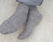 Hand Knitted Wool Socks man for him gray grey urban - made to order