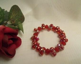 Sale- Sparkling Red Swarovski AB Crystals Stretch Bracelet- Birthday Gift Her Teen Mom Mother. Red Wedding Prom Jewelry. Womens Jewellery