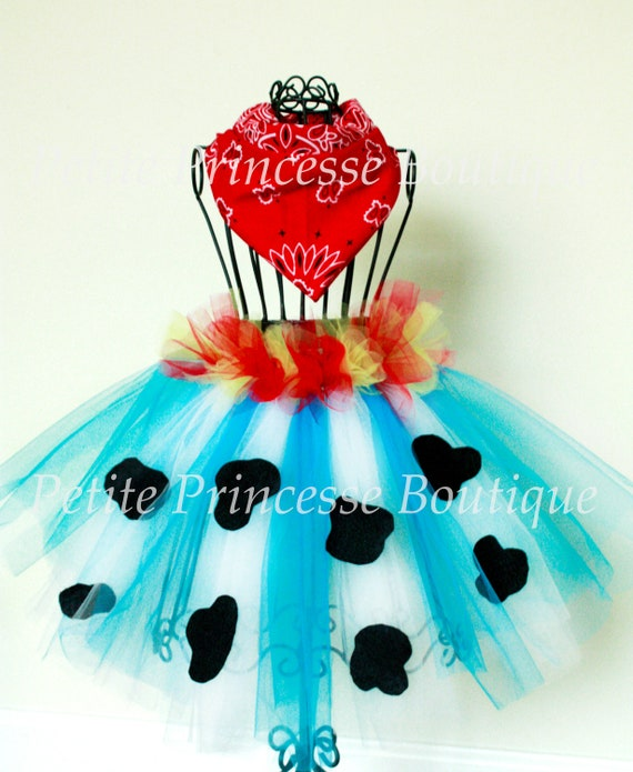Jessie Cowgirl Tutu. Red Yellow Blue White Black. Bandana. Halloween. Cowgirl Costume. Birthdays. Dress Up. Baby 6-12 months