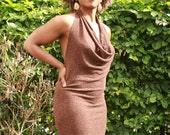 Dress, bare back, brown, almost see-through, cotton blend knit, cowl neckline