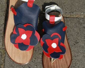 Sandals, all leather blue, red and white colour mix. OOAK handmade with an ankel band.