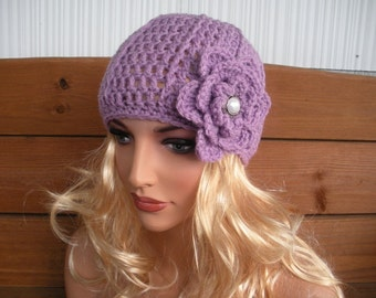 Women's Hat Crochet Hat Winter Fashion Accessories Women Beanie Hat Cloche in Lilac with Crochet Flower - Choose color