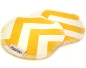 Nursing Pads Set of 2 Organic Cotton Sherpa in Chevron Ziggy Yellow Print