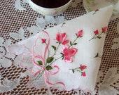 Hanky Pink Rosebud Heirloom New With Tag 1950's Era Made in Switzerland Wedding Handkerchief