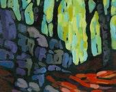 Trees Rocks Original Painting