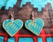 Heart Shaped - Hand Painted Native American Earrings