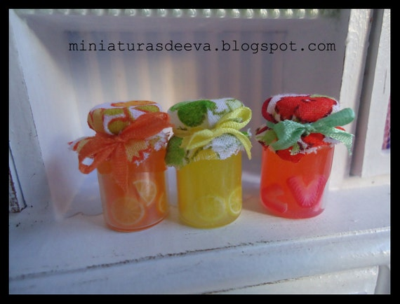 Set of 3 jam jars. Dollhouse.1/12th scale